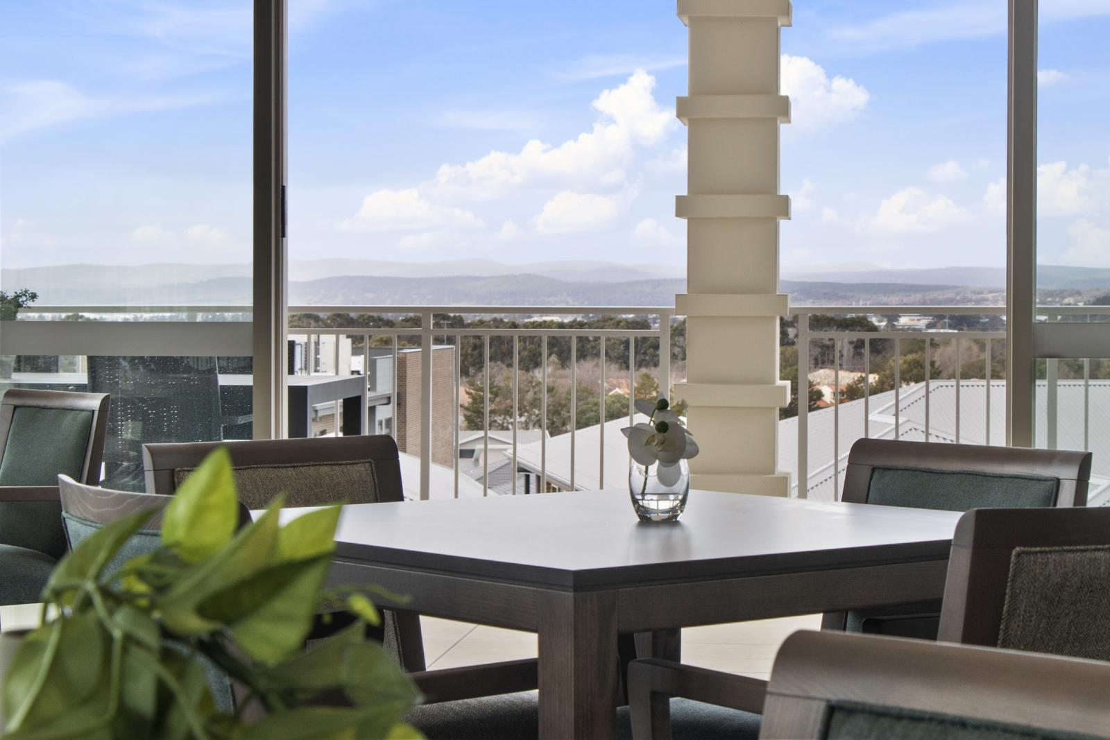 View from the clubhouse at The Aerie retirement living project in Canberra