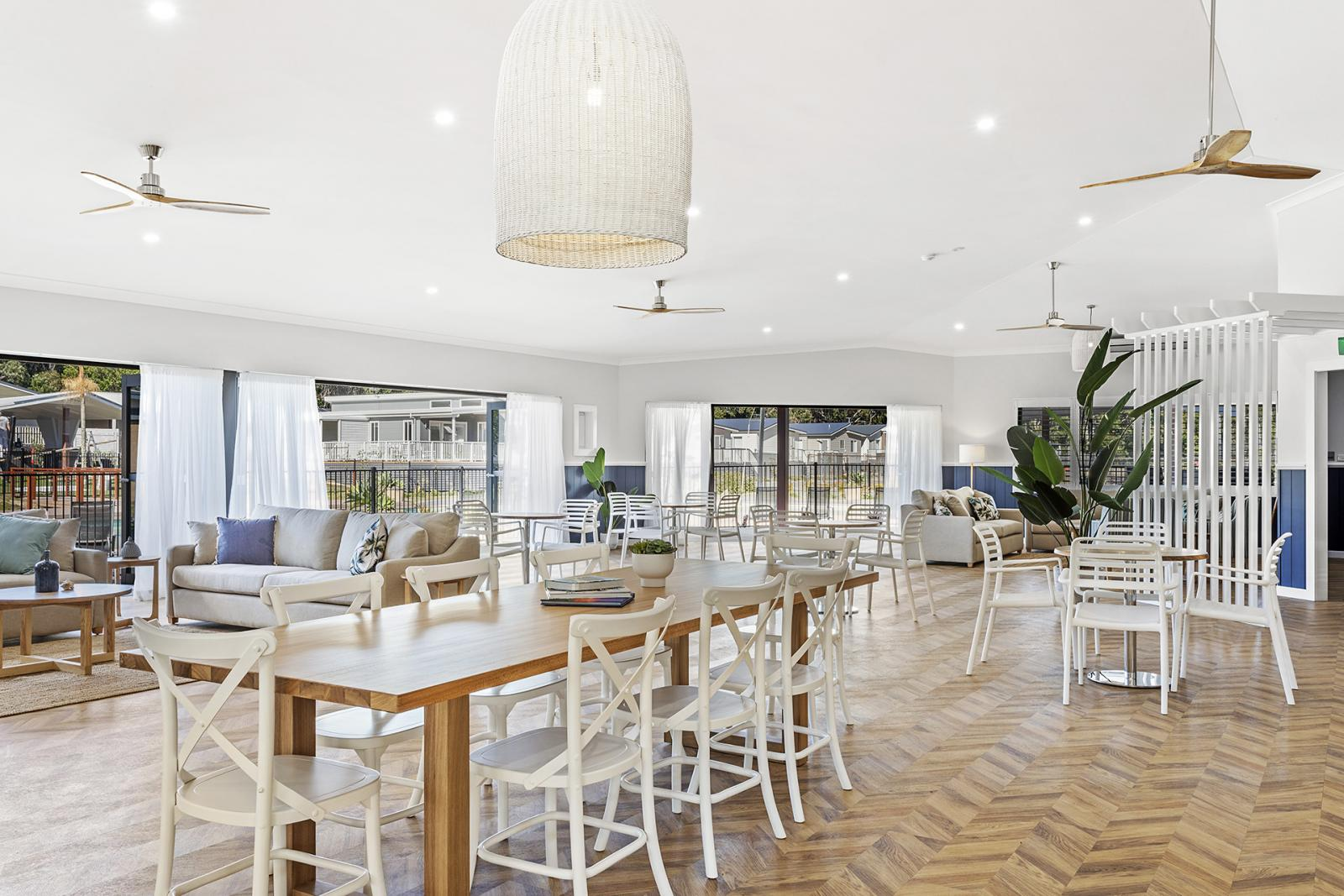 An interior photo of the community centre at Hometown Australia'sThe Dunes at Sussex Inlet