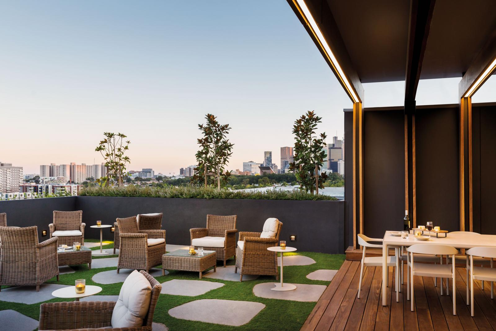 The rooftop terrace at Drummond Place
