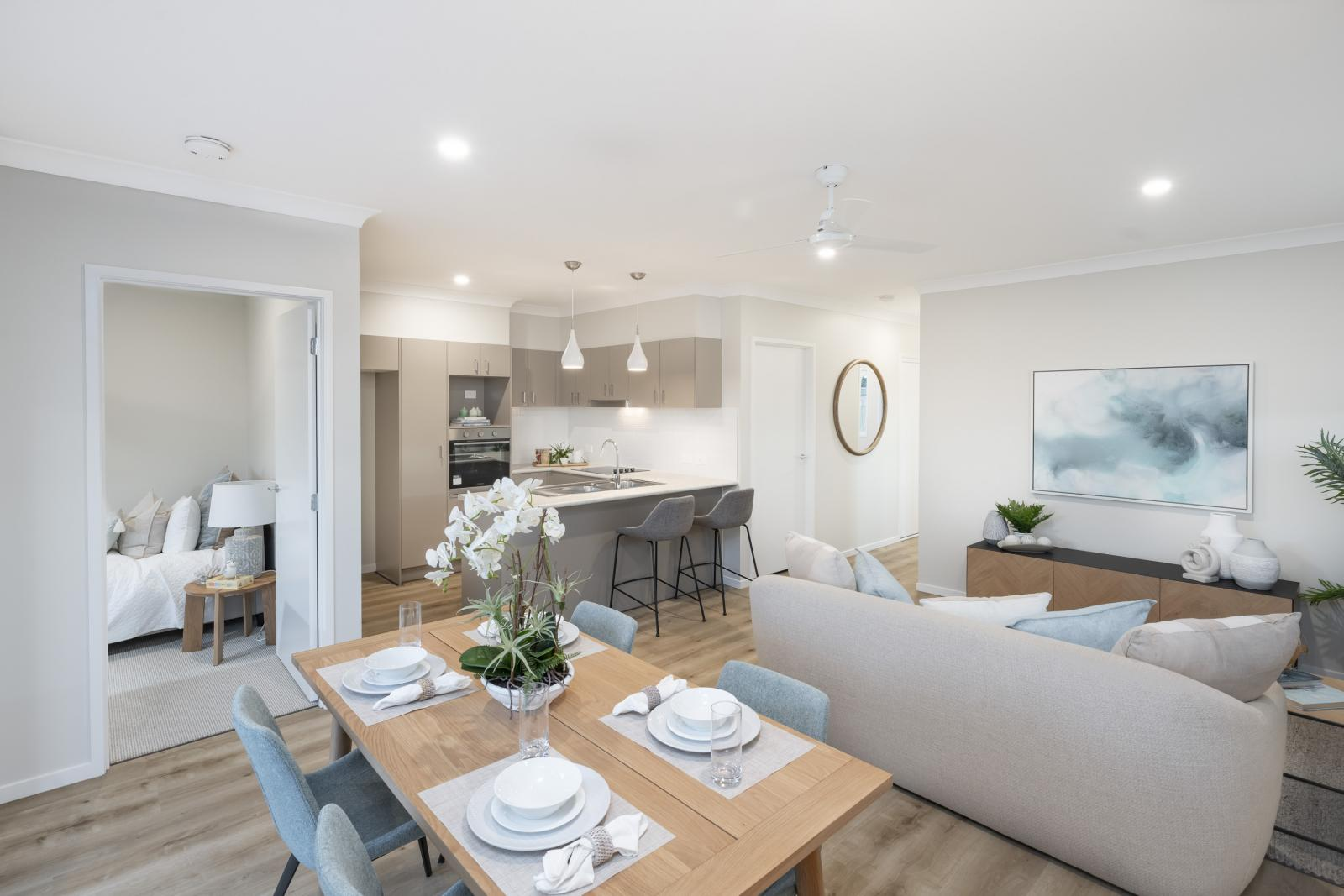 Interior of a new land lease home at Ingenia Chamber Pines south of Brisbane in Queensland