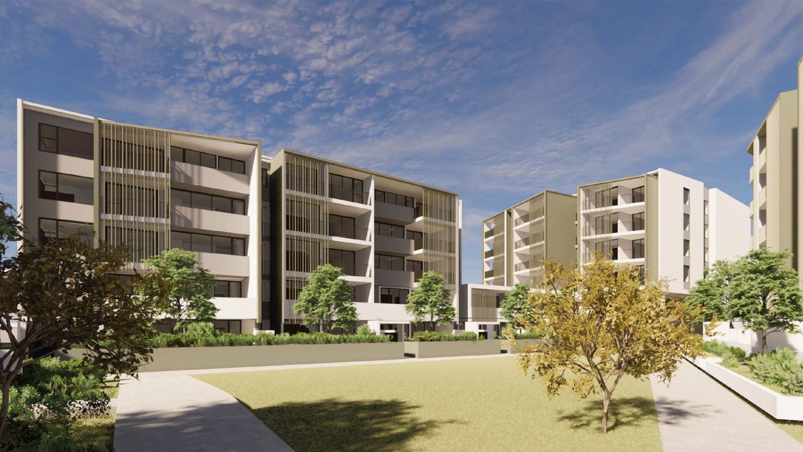 Artist's impression of the Francis and Lingrove buildings at Aura's Kingsford Terrace Corinda